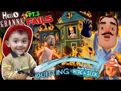 HELLO NEIGHBOR ON FIRE! Saved by Fireman Shawn (FGTEEV Part 3's of Hello Granny & Hide & Seek)