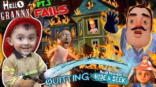 HELLO NEIGHBOR ON FIRE! Saved by Fireman Shawn (FGTEEV Part 3's of Hello Granny & Hide & Seek)