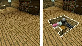 CÁCH LÀM PHÒNG NGỦ BÍ MẬT ĐƯỢC GIẤU DƯỚI SÀN NHÀ TRONG MCPE | Minecraft PE 1.2