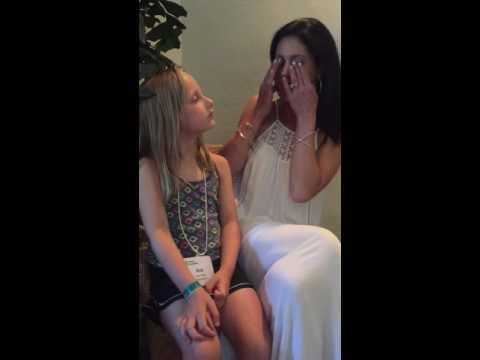 Joy takes out her prosthetic eyes for little girl who's going blind from Juvenile Arthritis
