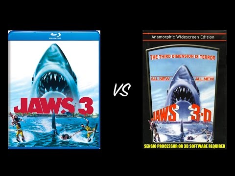 Comparison of Jaws 3-D 2K Remastered Blu Ray Edition vs Jaws 3-D SENSIO DVD Edition Top Bottom