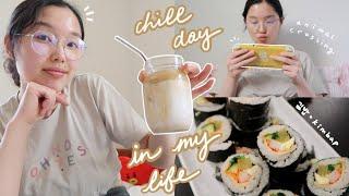 chill day in my life: dalgona coffee, working, animal crossing, making kimbap