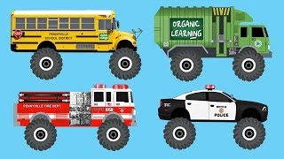 Learn 30 AWESOME Monster Trucks - Organic Learning (Fun & Educational Learning Video)