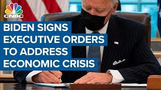 President Joe Biden signs executive orders to address economic crisis