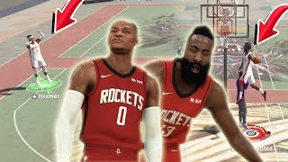 99 OVR JAMES HARDEN BUILD & RUSSELL WESTBROOK DOMINATE THE PARK IN NBA 2K20!