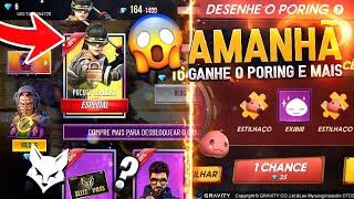 AMANHÃ!! EVENTO DESENHE O PORING, ENTRE NA LOJA MISTERIOSA 8.0, PASSE DE ABRIL E MAIS - FREE FIRE