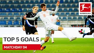 Top 5 Goals • Müller, Poulsen & More | Matchday 4 - 2020/21