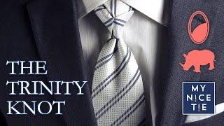 How to Tie a Tie: THE TRINITY KNOT (slow+mirrored=beginner) | How to Tie a Trinity Knot (easy)
