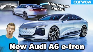 New Audi A6 e-tron - you can play video games using its headlights!?!