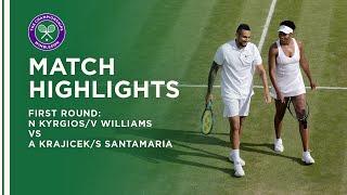 Kyrgios/Williams vs Krajicek/Santamaria First Round Highlights | Wimbledon 2021