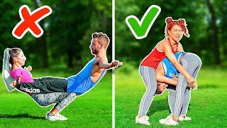 ULTIMATE ACROBATICS CHALLENGE! PRO vs NOOB    Impossible Gymnastic Tricks By 123 GO! CHALLENGE