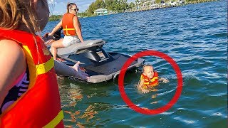 SHE FELL IN! KIDS RIDE JET SKI FOR FIRST TIME