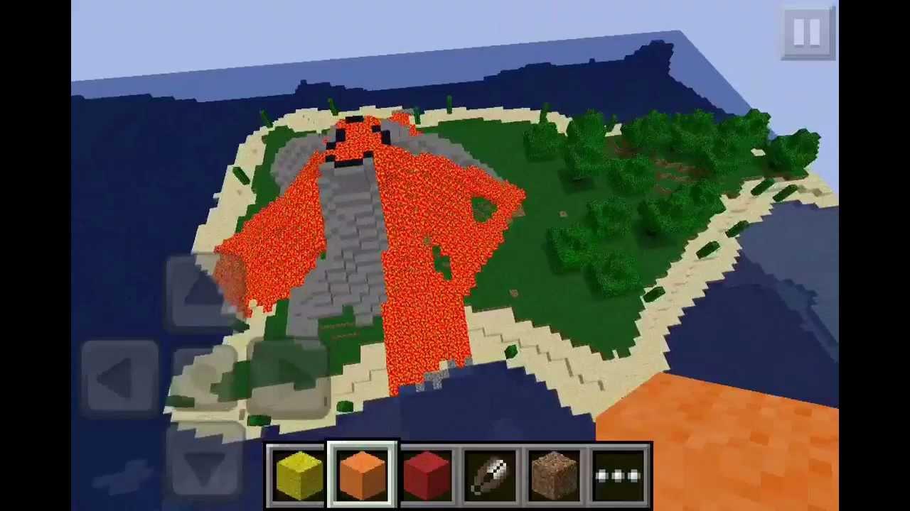 minecraft pe volcano islandspleef arena youtube