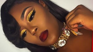Poppin' Holiday Glam Glitter Cut-Crease Makeup Look   Briana Marie