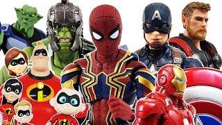 The Avengers & Incredibles 2 vs Dinosaur, Goblin, Go~! Hulk, Spider Man, Iron Man, Thor Toys Play