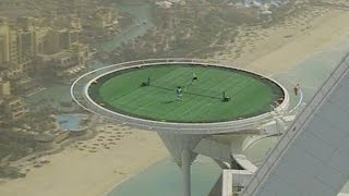 DDFTC 25th Anniversary: Federer, Agassi Play On Burj Al Arab Helipad