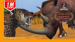 Smilodon VS Woolly Rhinoceros : Dinosaurs Battle Special