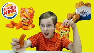 Burger King Mac n' Cheetos & White Castle Mac and Cheese Nibblers Taste Test Review | CollinTV
