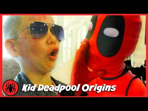 Kid Deadpool Origins Story at Sleepover Party w Wolverine, Captain America Batman comics superheroes