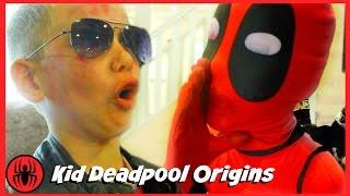 Kid Deadpool Origins Story at Sleepover Party w Wolverine, Captain America Batman comics superheroes
