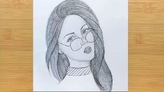 How to draw a Girl with Glasses / Face drawing