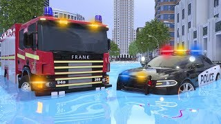 Fire Truck Frank and Water Tank Aiden are in Position - Wheel City Heroes (WCH) - New Cartoon