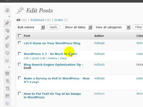 WordPress Tutorial - WordPress 2.7 Dashboard Basic Introduction