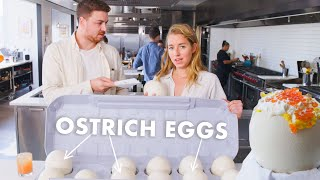 Pro Chef Learns How to Cook Ostrich Eggs | Bon Appétit