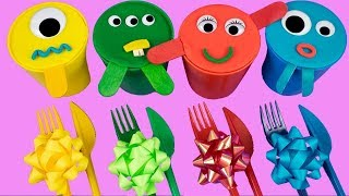 Learning Colors And Numbers For Babies With 4 Color Ice Cream Cups Kinder Toys Surprise Eggs English