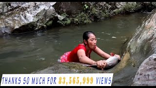 Survival skills: Catch big fish 5 Kg by hand in waterfall - Cooking big fish eating delicious #20