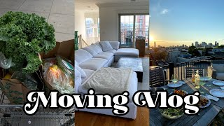 MOVING VLOG: first day in the new apartment, rooftop dinner, unpacking!