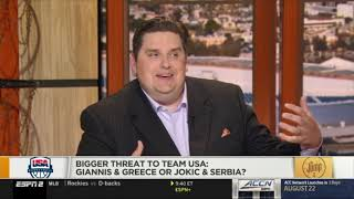 Bigger threat to team USA: Giannis & Greece or Jokic & Serbia? Brian Windhorst & Royce Young DEBATE