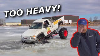 MEGA TRUCK on thin ice FALLS THROUGH (epic recovery) +BIG SPONSORS!