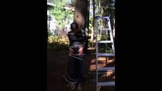 Ice bucket challenge tied to tree