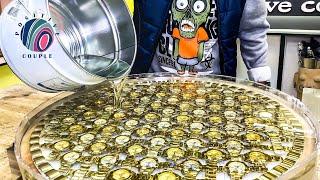 68 Gold Watches in Epoxy! Amazing Table of Oak and Epoxy! Часы в смоле! Стол из дуба и эпоксидки.