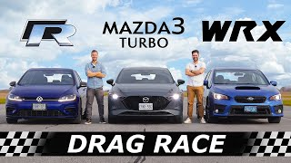 2021 Mazda3 TURBO vs Golf R vs Subaru WRX // DRAG RACE, ROLL RACE & Mazda3 Review