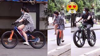 Director Puri Jagannadh and Charmi Kaur snapped cycling in..