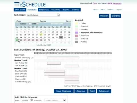 Employee Scheduling: eSchedule.ca Introduction for Managers