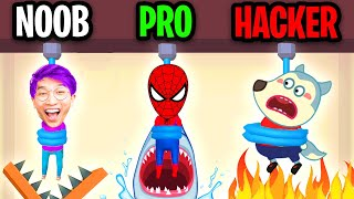 NOOB vs PRO vs HACKER In RESCUE CUT! (ADAM CAUGHT BY CARTOON CAT!)