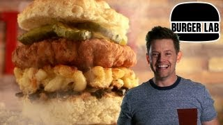 Chicken 'n Biscuit 'n Mac 'n Cheese Burger - Burger Lab