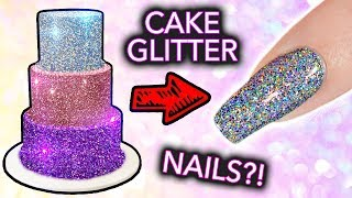 Putting CAKE GLITTER on NAILS? (+