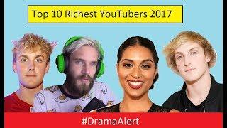 Top 10 Richest YouTubers of 2017! #DramaAlert Jake Paul BUSTED! PewDiePie vs YouTube Rewind!
