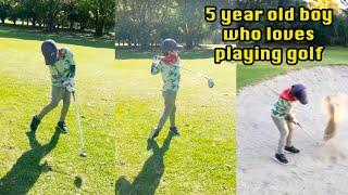 5 year old boy who loves playing GOLF | 골프치는 꼬꼬마