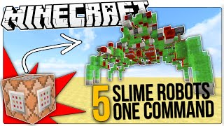 The COOLEST Minecraft Slime Block Redstone Robots In Only One Command Block!
