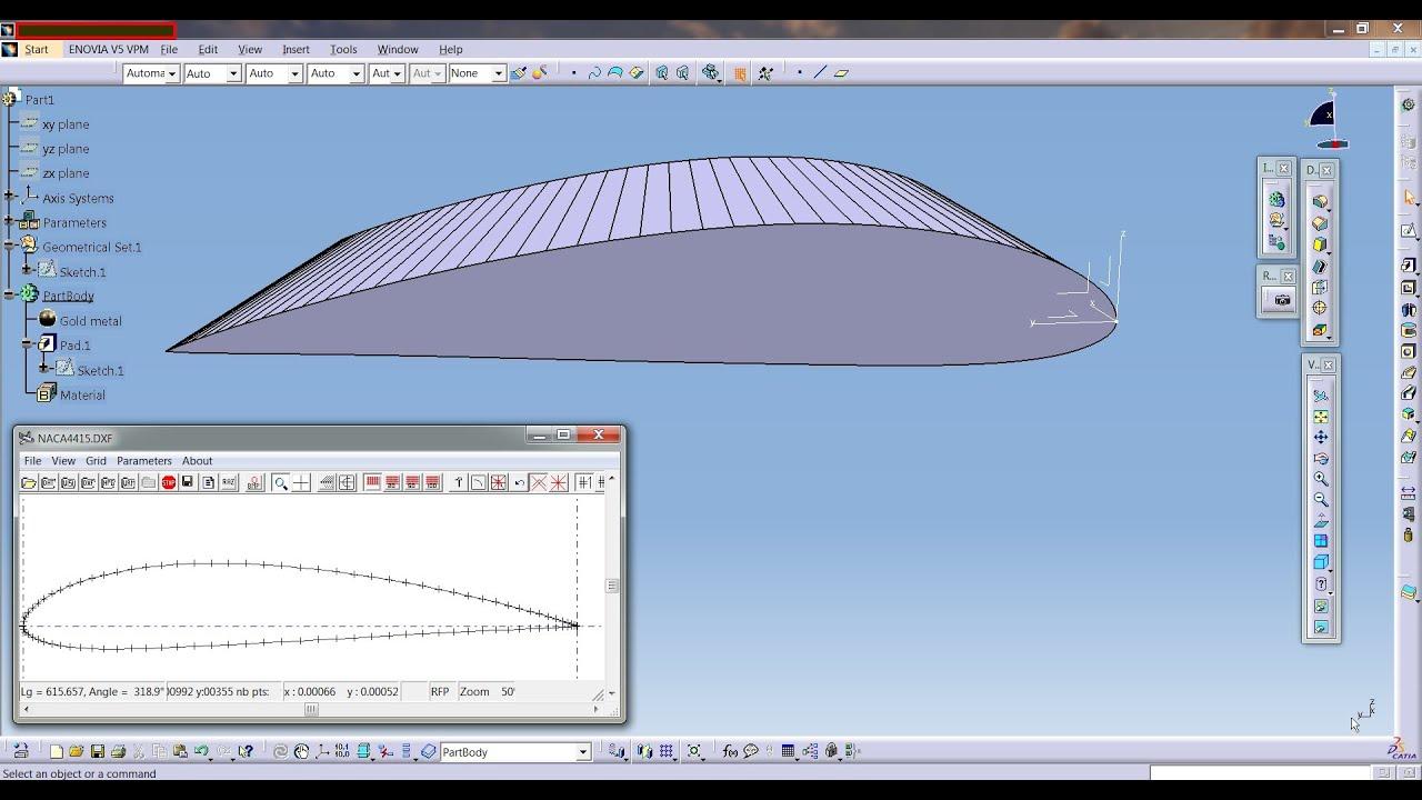 Catia Aurospace Naca Airfoil Or Aircraft Wing Create