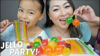 Jello Party Tik Tok Jelly Fruit & Noodle Jello Mukbang | N.E Let's Eat