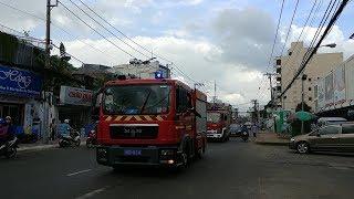 Đua theo xe cứu hỏa thi hành nhiệm vụ tới tòa nhà Orchard Parkview Novaland - Follow fire engines