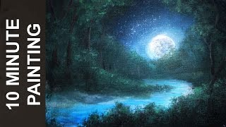 Painting a Moonlit Forest Landscape with Acrylics in 10 Minutes!