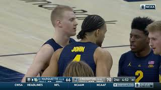 #21 Marquette at Creighton Highlights: #BIGEASThoops