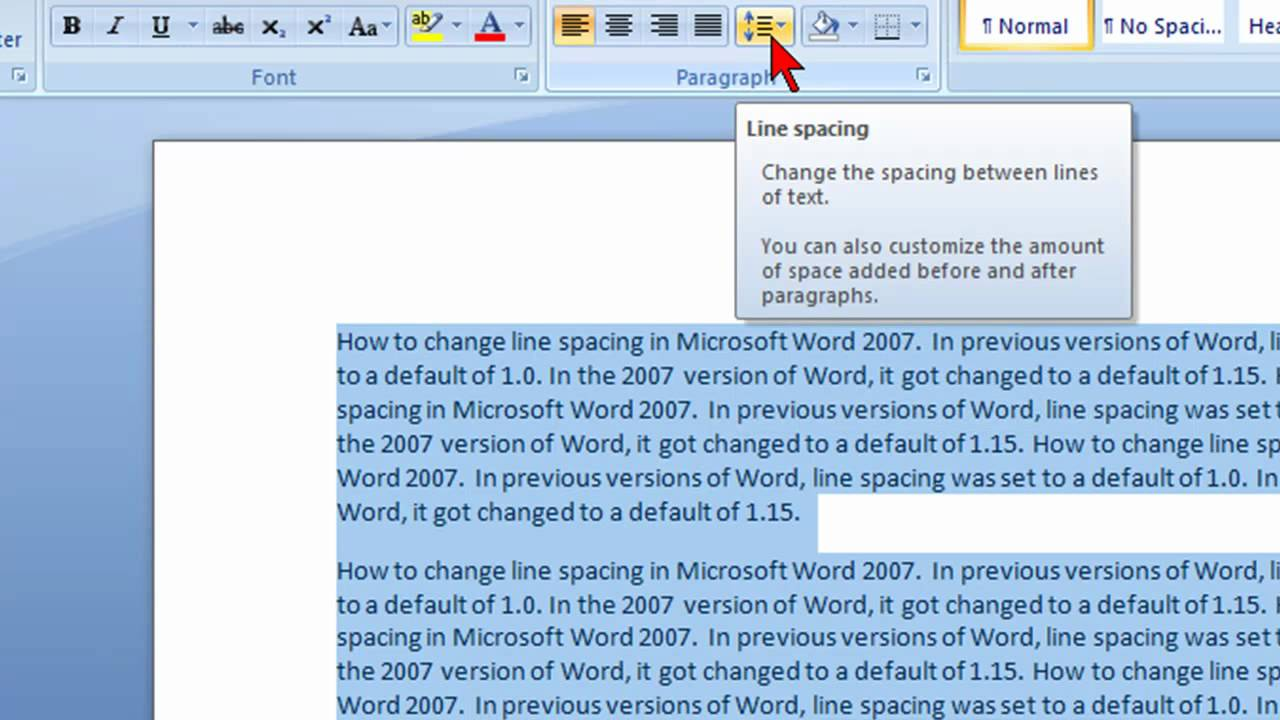 How to change line spacing in Microsoft Word 2007 - YouTube
